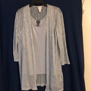 Sparkly shell and over blouse